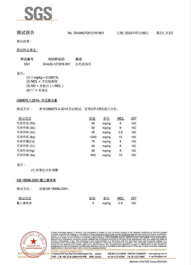 卷簾SGS 環境檢測報告