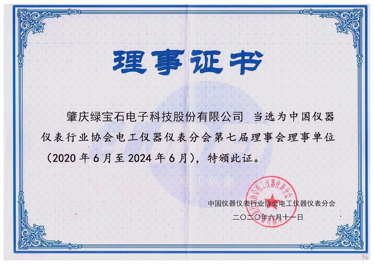 被評為中國儀器儀表行業協會電工儀器儀表分會第七屆理事會理事單位
