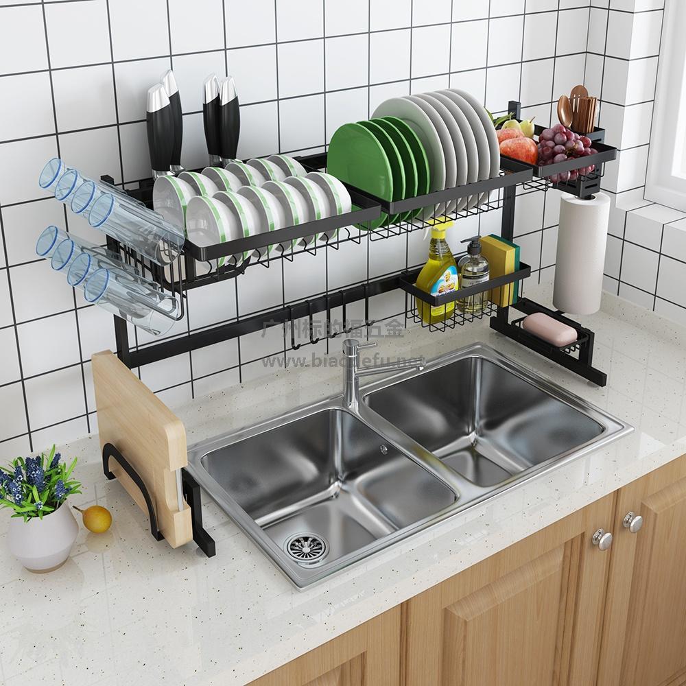 不锈钢烤漆置物收纳架厨房水槽沥水架