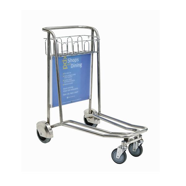 不锈钢四轮无刹行李手推车
