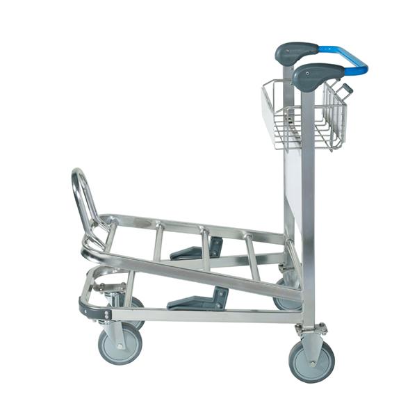 双层不锈钢机场行李手推车