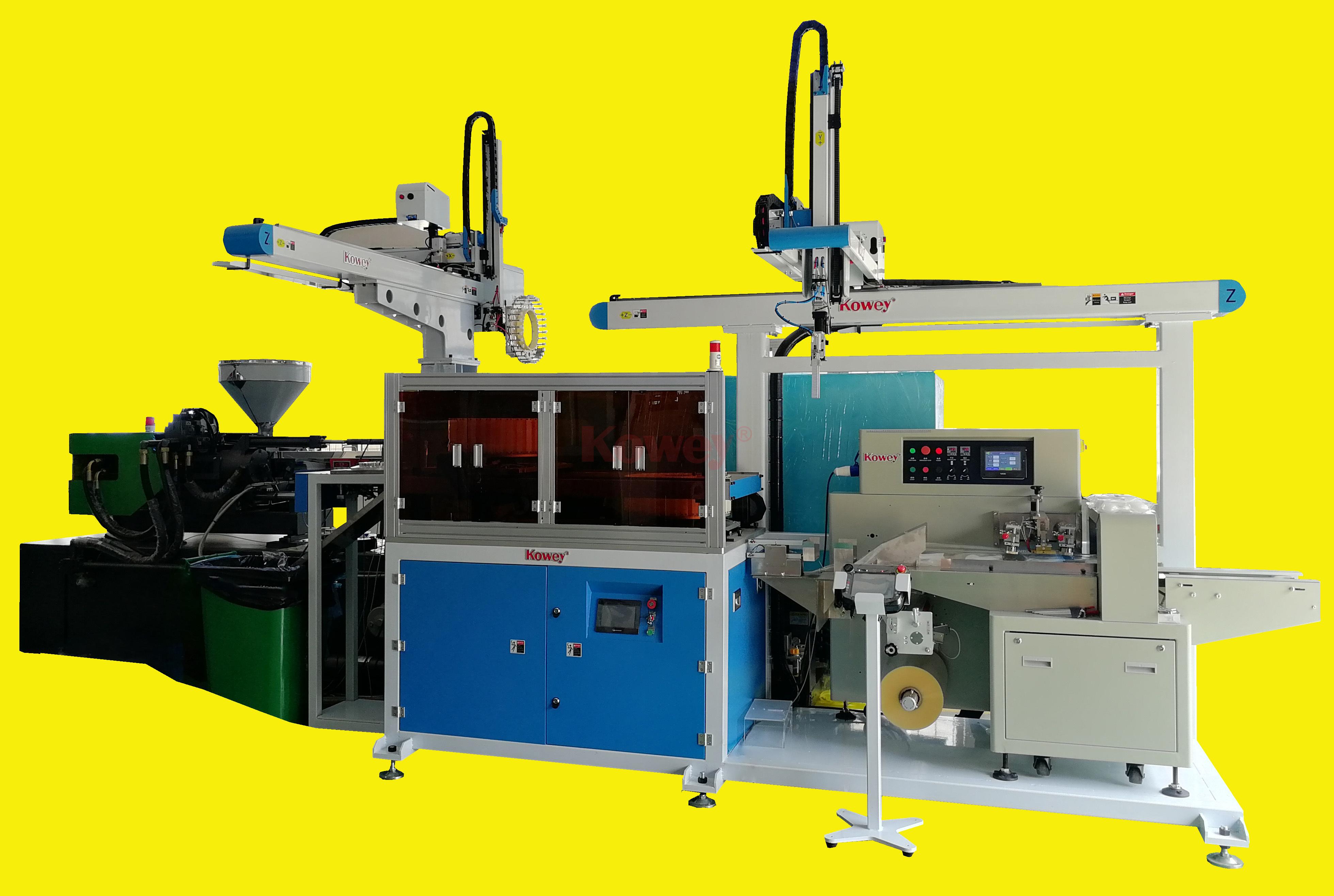 注塑自動化-一次性刀叉勺-全自動勺子取出和包裝生產線(1出32)