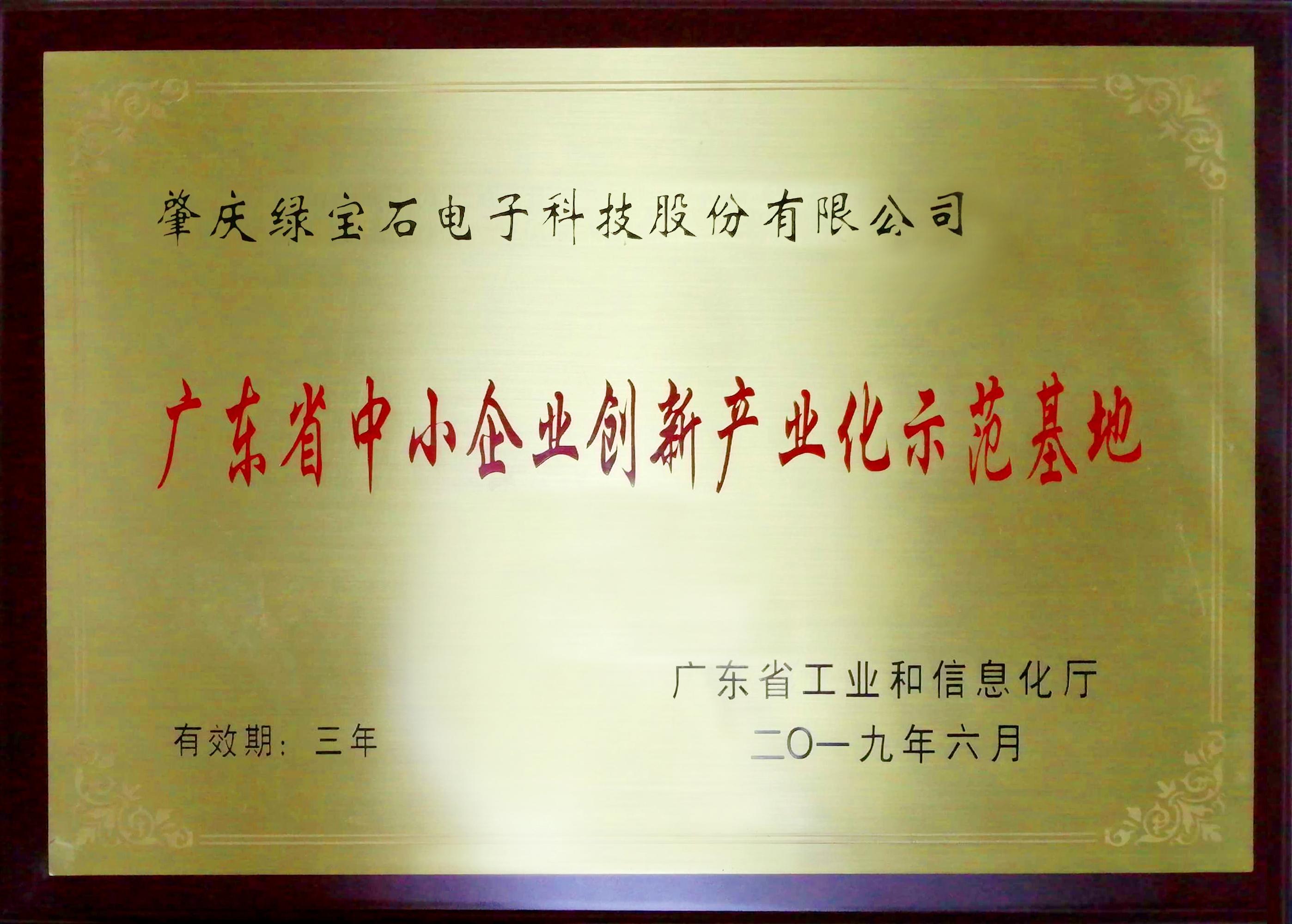 大事記1:2019年被認定為廣東省中小企業創新產業化示范基地