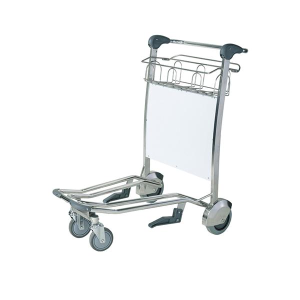 不锈钢三轮机场行李手推车带车篓广告板